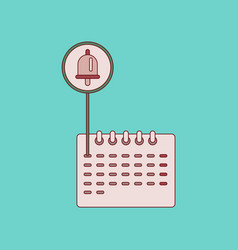 Flat icon with thin lines school calendar vector