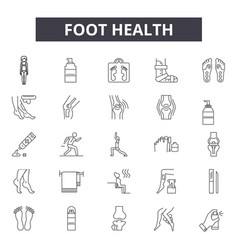 foot health line icons signs set outline vector image