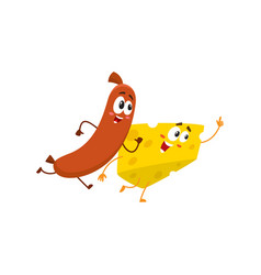 Frankfurter sausage and cheese chunk characters vector