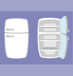 Fridge in cartoon style open and closed vector