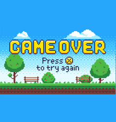 game over screen retro 8 bit arcade games old vector image