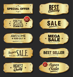golden metal plates collection on black vector image