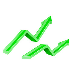green arrows up growing financial 3d shiny icons vector image