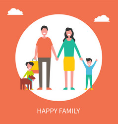 happy family with dog and shopping bags poster vector image