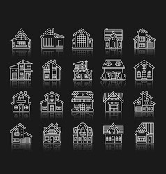 House simple white line icons exterior set vector