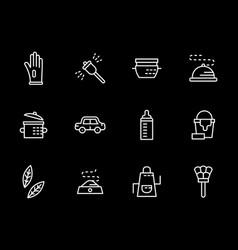 household tasks white line icons set vector image