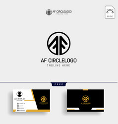 letters f a fa joint logo icon with business card vector image