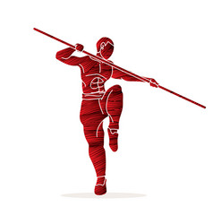 Man with quarterstaff action kung fu pose graphic vector