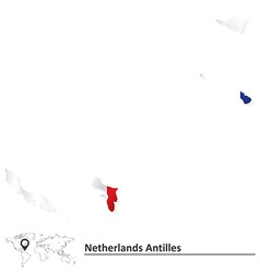 Map of Netherlands Antilles with flag vector image