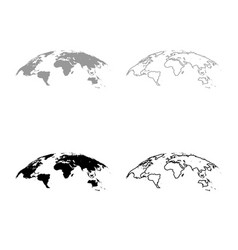 map of world 3d effect surface icon outline set vector image