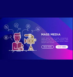 mass media journalist with microphone and camera vector image