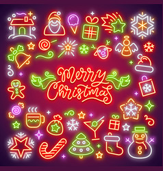 merry christmas neon icons set vector image