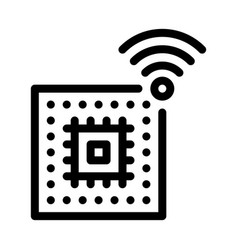 microchip icon outline vector image