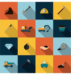 Mining Icons Set Flat vector image