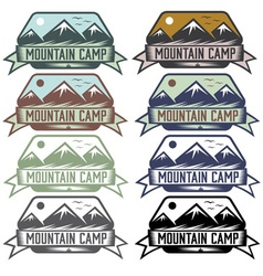 Mountain camp vintage labels set vector