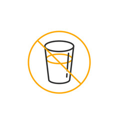 No drink for fasting symbol simple monoline icon vector