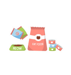 Pet food food for cats bowl packaging vector