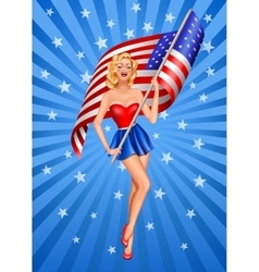 Pin-up blond patriotic woman vector