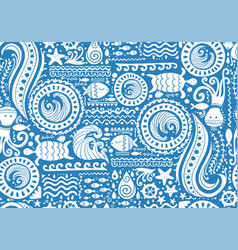Polynesian style marine background tribal vector