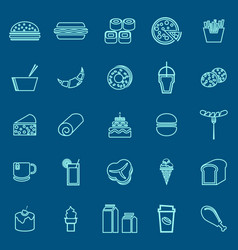 popular food line color icons on blue background vector image