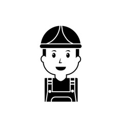 Portrait worker man construction with overalls and vector