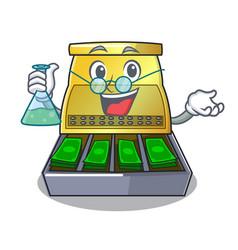 Professor cartoon vintage cash register front view vector