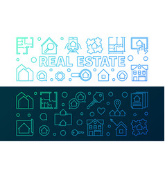 real estate two creative linear horizontal vector image