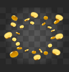 Realistic gold coins explosion isolated on vector