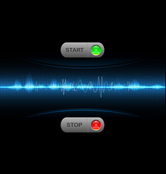 realistic start and stop button sound wave vector image