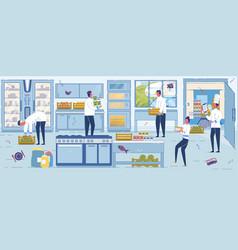 restaurant staff accept fresh food supply scene vector image