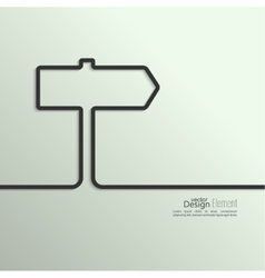 Ribbon in the form of signpost with shadow and vector image
