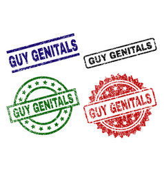 Scratched textured guy genitals seal stamps vector