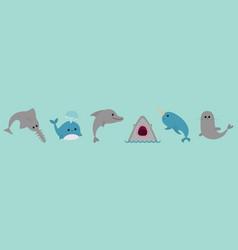 sea ocean animal fauna icon set line blue whale vector image