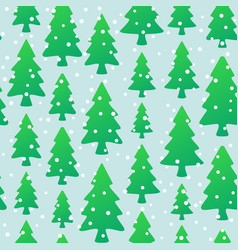seamless pattern with green trees and snowflakes vector image