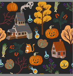 Seamless pattern with halloween scary elements vector