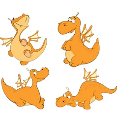 Set of dragons cartoon vector
