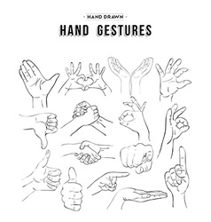 Set of handmade hand gesture icon elements vector image