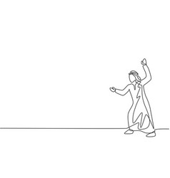 Single one line drawing young arab business vector
