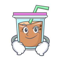 Smirking bubble tea character cartoon vector