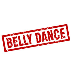 square grunge red belly dance stamp vector image