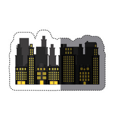 sticker urban cityscape and residential apartments vector image