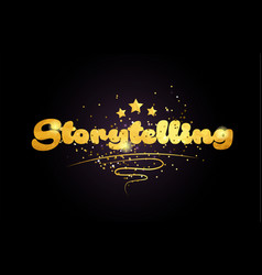 Storytelling star golden color word text logo icon vector