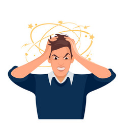 stressed and frustrated man squeezing head with vector image