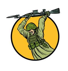 Symbol bayonet fighting soldiers at war vector