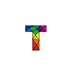 T colorful low poly letter logo icon design vector