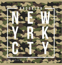 T-shirt design with camouflage texture new york vector
