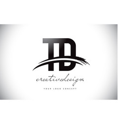 Td t d letter logo design with swoosh and black vector