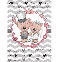 Teddy Bride and Teddy groom vector image