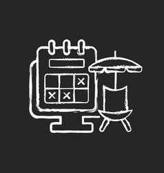 Tracking vacation time chalk white icon on dark vector