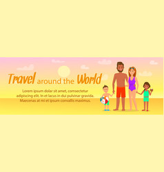 travel around the world lettering banner layout vector image